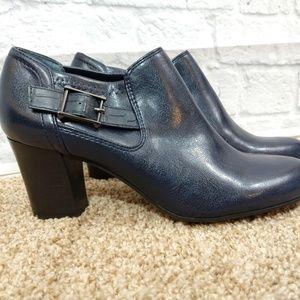 Franco Sarto | Navy Leather Block Heel booties